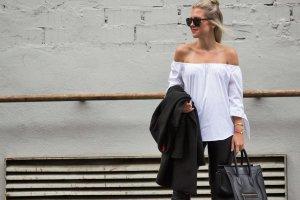 Zara Off Shoulder Carmen Bluse Schleifen Armdetail neuwertig Gr. S Blogger