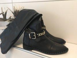 Zara Botas sobre la rodilla negro-color oro