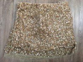 Zara Pailletten Rock Größe S nude hellrosa Roségold Gold Silvester