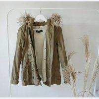 Zara Parka 34 XS Fellimitat Khaki Übergangsjacke tailliert Jacke lässig
