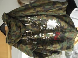 Zara Parka Jacke Army Patch Print Rock Bikermantel Mantel  Parka