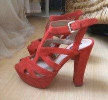 Zara Plateauzool Sandalen met Hoge Hakken rood