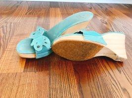 Zara Sandalias con plataforma turquesa-beige