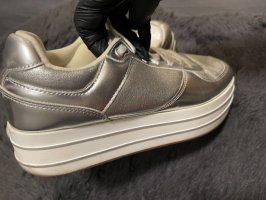 Zara Plateau Sneaker silber/weiß 41