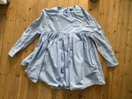 Zara Poplin Einteiler overall babyblau Kleid Blusenkleid Popelin Top
