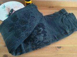 Zara Premium Denim Collection Skinny Jeans, schwarz mit Stickerei