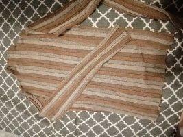 Zara Knit Top con colletto arrotolato marrone-grigio-sabbia