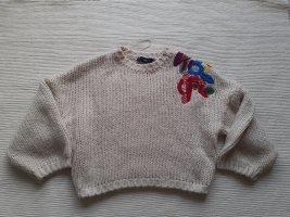 Zara Sweter z grubej dzianiny jasnobeżowy
