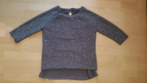 Zara Pullover Grau Silber mit Pailletten Gr. 40 / L
