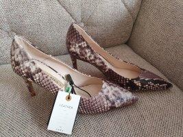 Zara pumps gr. 37 neu Schuhe stilettos high heels sneakeprint schlangenmuster schwarz grau