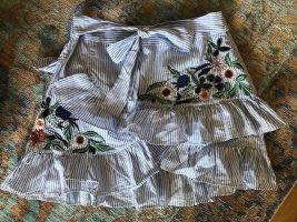 Zara Flounce Skirt white-neon blue