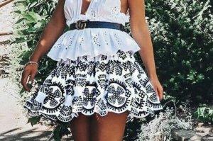 Zara Skaterska spódnica biały-czarny
