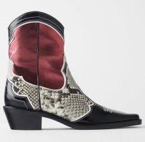 Zara rot burgundy cowboy stiefeletten 38 Neu Leder schwarz schlang snake