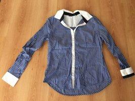 Zara royalblaue Bluse mit weißen Streifen L klassische Impressionen