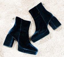 Zara Samt Stiefeletten Boots Plattform Stiefel Ankle Boots Heels Teal Petrol Blau Velvet