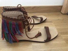 Zara Sandalen mit Fransen 41 Echtleder Sommer braun Hippie Boho