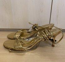 Zara Sandalen Riemchensandalen Gold zum schnüren