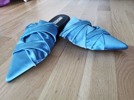 Zara satinierter Damenschuhe elegant glänzt Pantolette blue Gr.37
