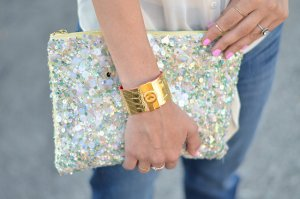 Zara Sequin Pailletten Clutch mint rose shine Hochzeit Party Sommer Blogger neuwertig