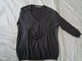 Zara Silk+Cotton+Cashmere V-Pullover  grau M/38 3/4-Ärmel
