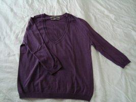 Zara Silk+Cotton+Cashmere V-Pullover  lila S/36 3/4-Ärmel