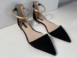 Zara Ballerina's met bandjes zwart-goud