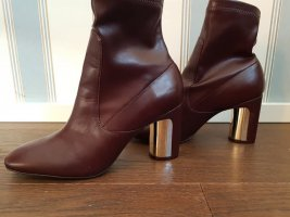 Trf by Zara Cut Out Booties bordeaux leather