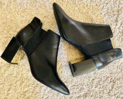 Zara Woman Wciągane buty za kostkę czarny-złoto