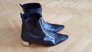Zara Stiefelette Leder schwarz silber Größe 41