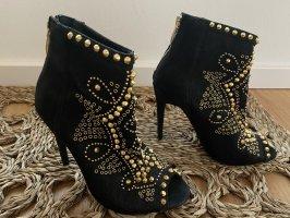 Zara Peep Toe Booties black-gold-colored