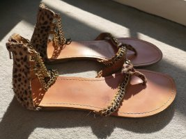 Zara High-Heeled Toe-Post Sandals bronze-colored-gold-colored
