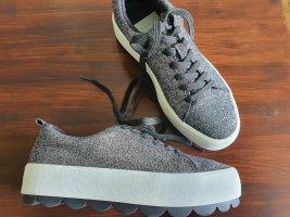 Zara Trend Platform Sneaker Turnschuhe schwarz silber 38