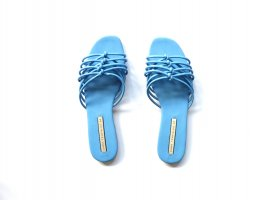 Zara TRF Trafaluc Sandalen Gr. 40 Pantoletten blau Knoten