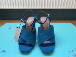 Zara türkise Absatzsandale aus Leder