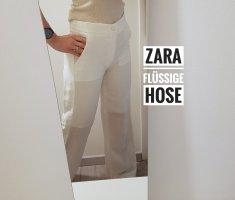Zara Pantalón tipo suéter blanco puro