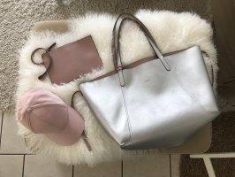 Zara Wende Shopper Blogger Tasche Silber Rosa Pochette