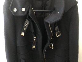 Zara wollmantel mantel Wintermantel xs 34 schwarz Military Style
