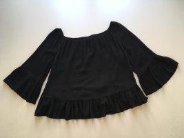 Zara Woman Bluzka typu carmen czarny Wiskoza