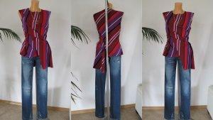 Zara Woman Kurzarm-Bluse Streifenmuster elegant Gr. 38 wNEU