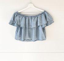 Zara Woman Hauts épaule nues bleu-bleu azur