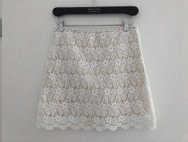 Zara Woman Koronkowa spódnica biały-w kolorze białej wełny