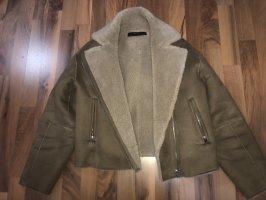 Zara Chaqueta de aviador marrón claro-marrón-negro
