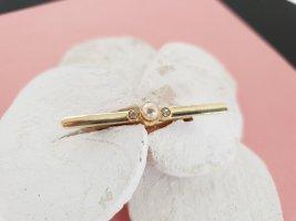 Zarte Perlen Strass Brosche Gold Schick Edel