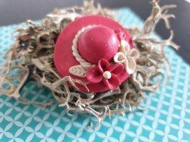 Zarte pink Hut Brosche aus Nachlass v.Oma Blume Mini Retro