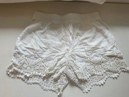 H&M Pantalón corto de talle alto blanco