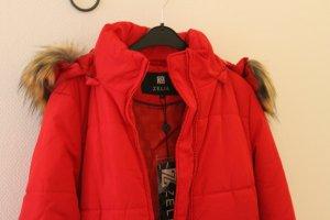 Manteau à capuche rouge polyester
