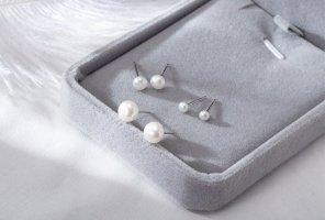 Zierliche Ohrstecker aus 925s silber und echte Süßwasser Perlen Lila Weiße handgemacht neu