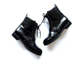 Zign flache Stiefeletten Gr. 40 Glattleder Lack Leder Schnürung boots ankle boots Zalando