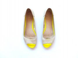 Zign Peeptoe Ballerinas Gr. 39 off white grau neon gelb Leder