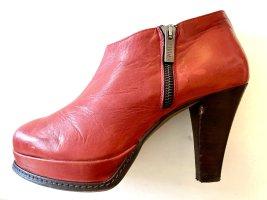 ZINDA Stiefeletten Leder Größe 38 Rot Plateau Absatz